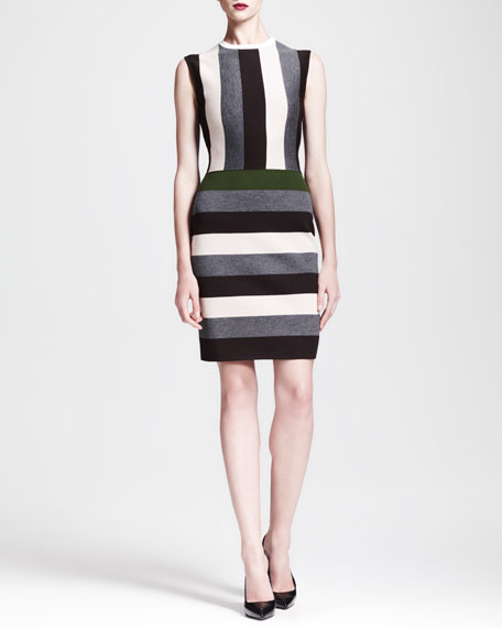 Multi-Stripe Cap-Sleeve Dress