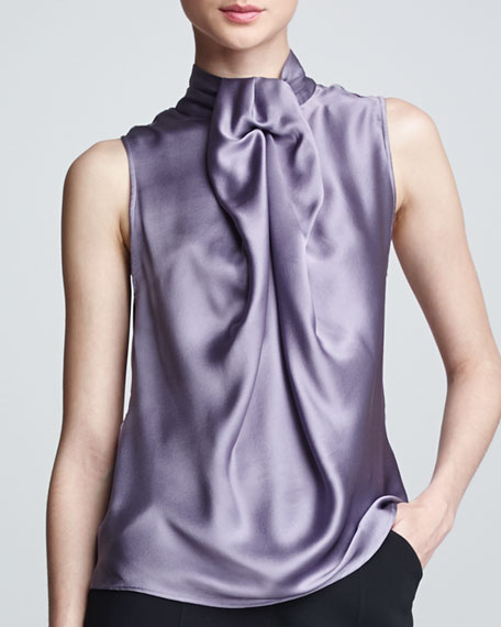 Sleeveless Silk Blouse, Mauve