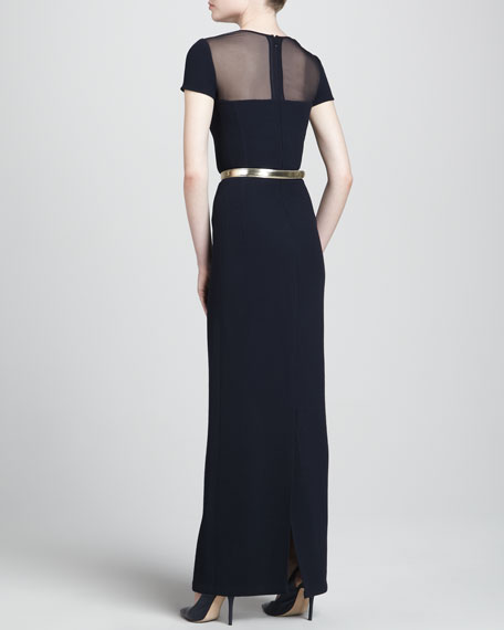 Sheer-Yoke Short-Sleeve Gown, Black