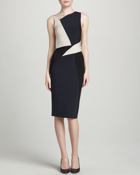 Sleeveless Colorblock Dress, Navy/Multi