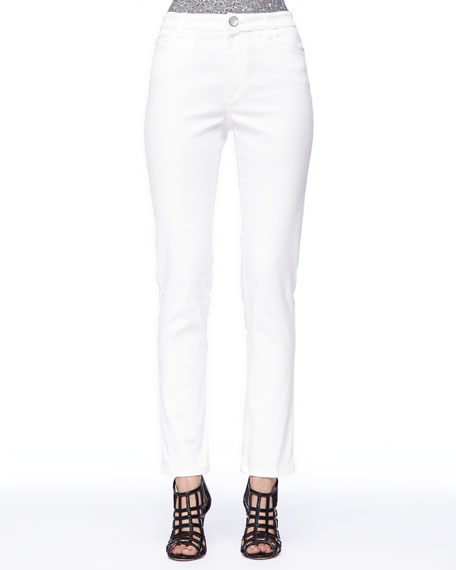Fitted Ankle Pants, White