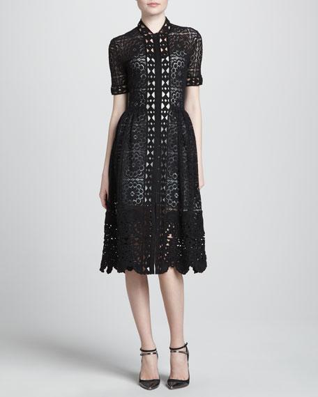 Scalloped Lace Dress, Black/Capri