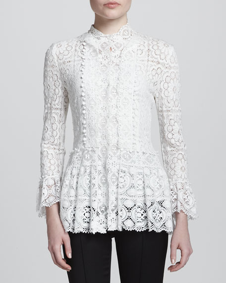 Long-Sleeve Lace Blouse, White