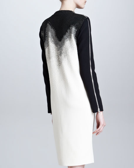 Long-Sleeve Beaded Shift Dress, White/Black
