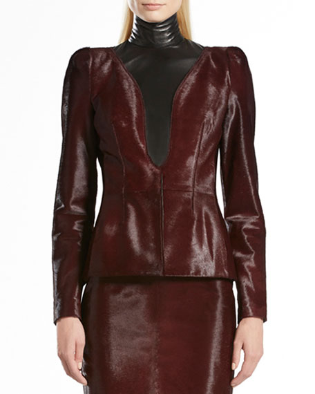 Shiny Calf Hair Peplum Jacket