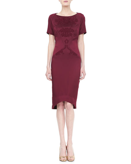 Tonal Embroidered Dress, Bordeaux