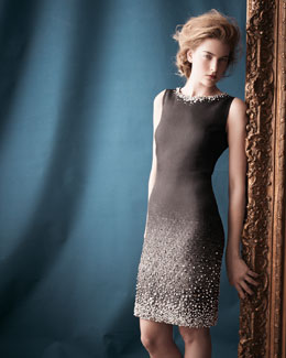 St. John Collection Sleeveless Degrade Beaded Sheath Dress, Caviar/Oyster