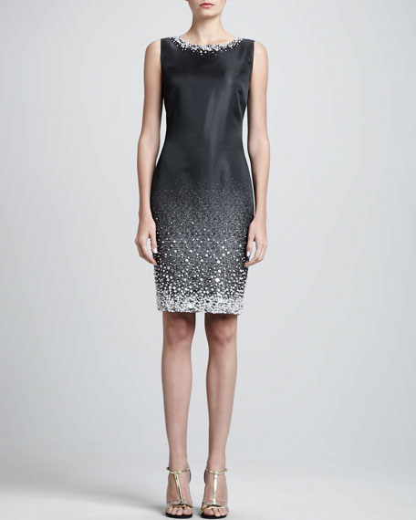 Sleeveless Degrade Beaded Sheath Dress, Caviar/Oyster