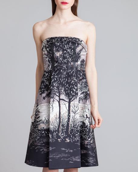Printed Strapless Pleat-Trim Dress