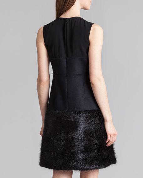 Fur-Bottom Combo Bustier Dress