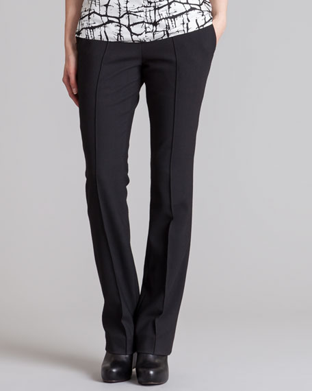 Straight-Leg Stretch Gabardine Pants