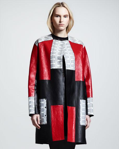 Bonded Snake/Leather Patchwork Coat