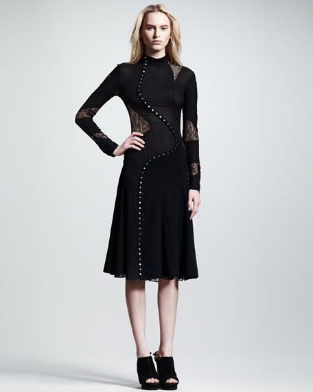 Long-Sleeve Pieced Dress