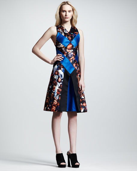 Protest-Print Silk Flare Dress
