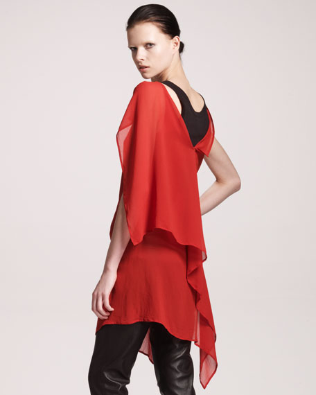 Georgia Asymmetric Ruffle-Back Dress