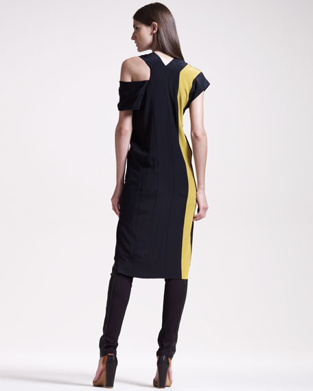 Colorblock V-Neck Dress, Black/Chartreuse