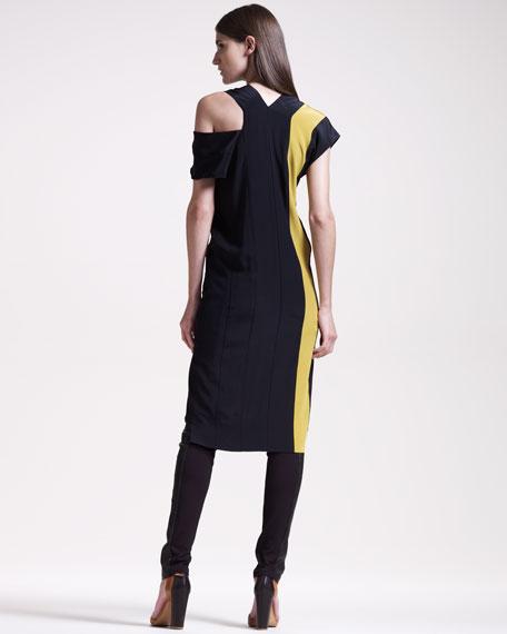 Colorblock V-Neck Dress, Black/Chartreuse