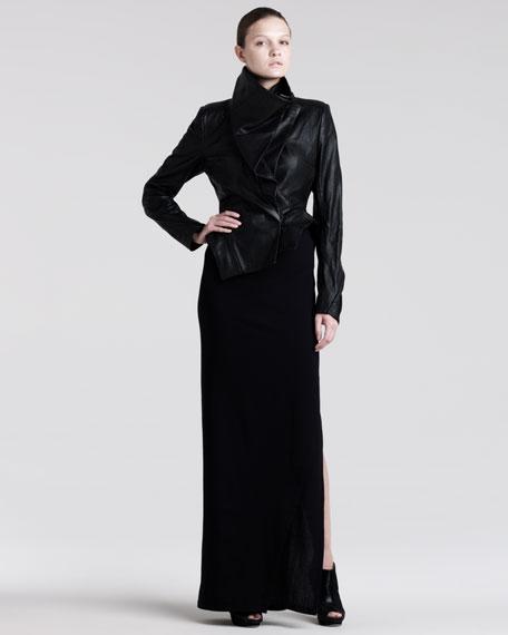 Long Stretch-Wool Skirt