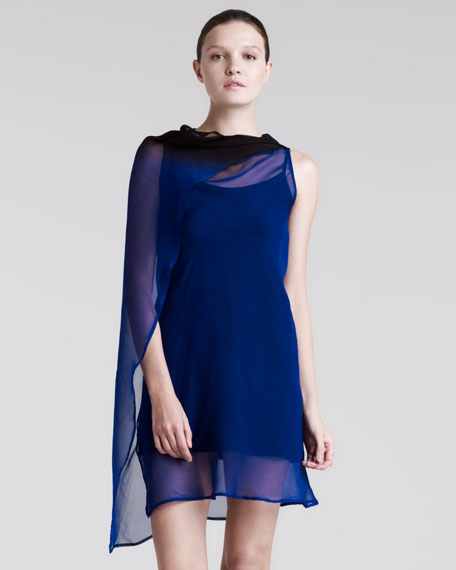 Draped Georgette Degrade Top, Sapphire Blue