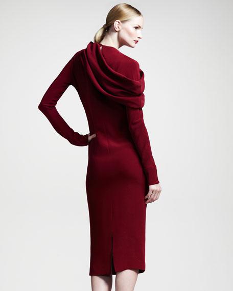 Draped Long-Sleeve Silk Dress