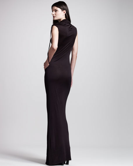 Ruched Cowl-Neck Long Dress