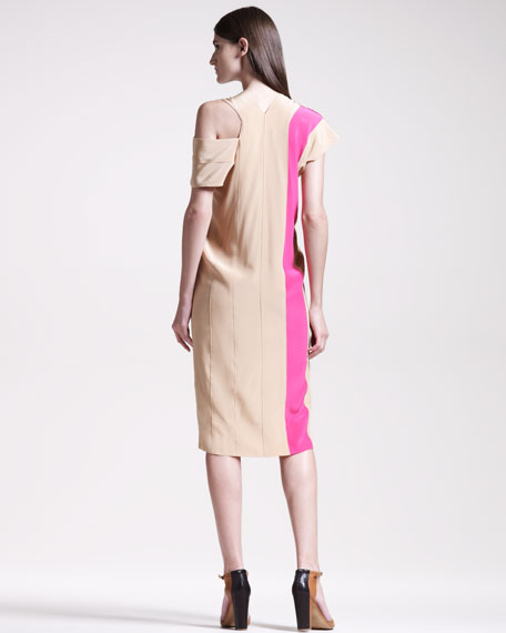 Colorblock V-Neck Dress, Beige/Pink
