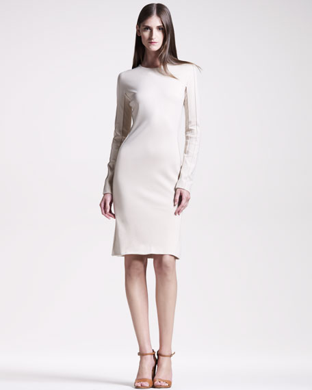 Seamed Jersey Long-Sleeve Sheath Dress