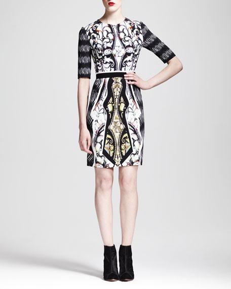 Printed Belted Half-Sleeve Dress