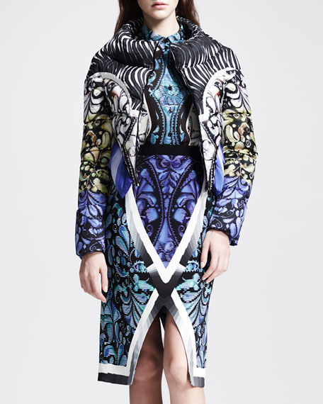Printed Cropped Puffer Jacket