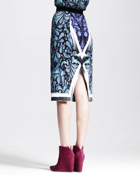 Printed Split-Center Pencil Skirt