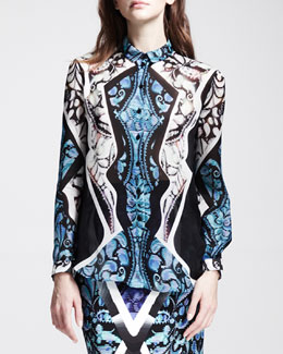 Peter Pilotto Printed Sheer-Panel Blouse