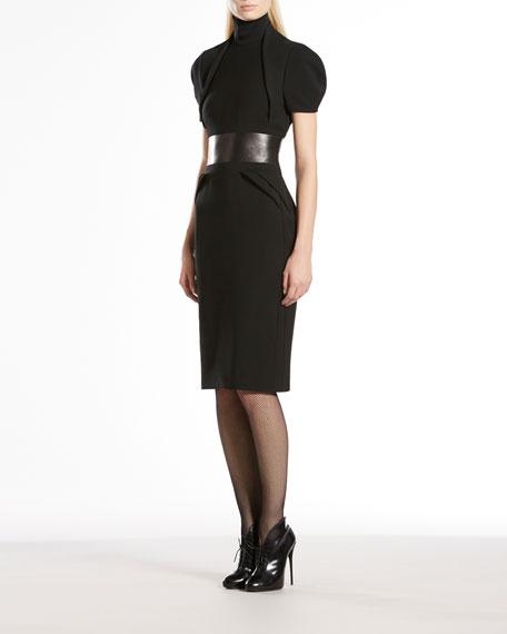 Stretch Wool High-Neck Dress
