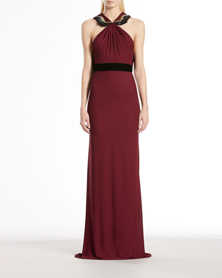Viscose Jersey Embroidered Halter Gown