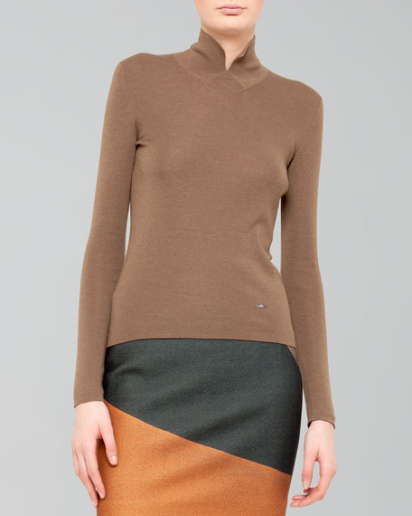 Cashmere-Silk Knit Polo-Style Pullover, Steppe