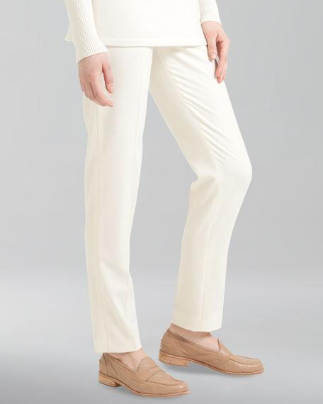 Stretch Wool Flannel Pants, Ecru
