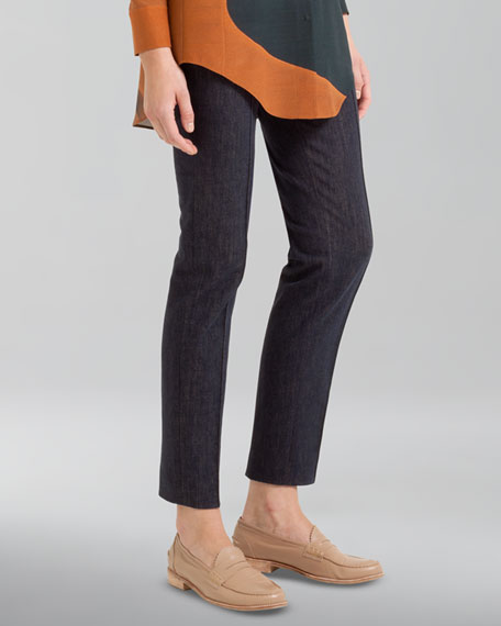 Stretch Denim Ankle Pants