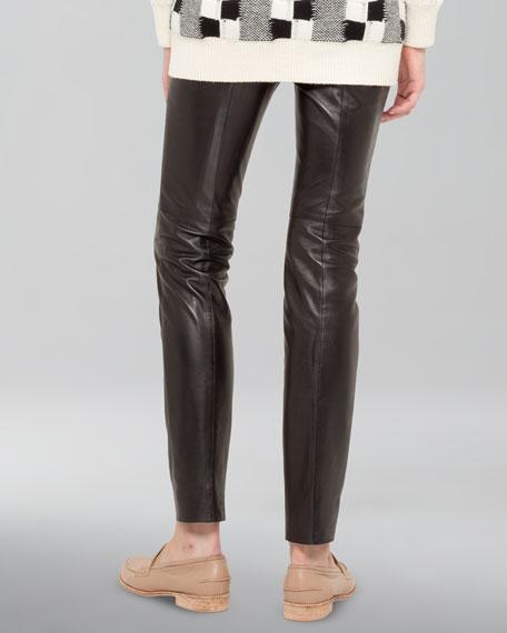 Stretch Leather Pants, Black