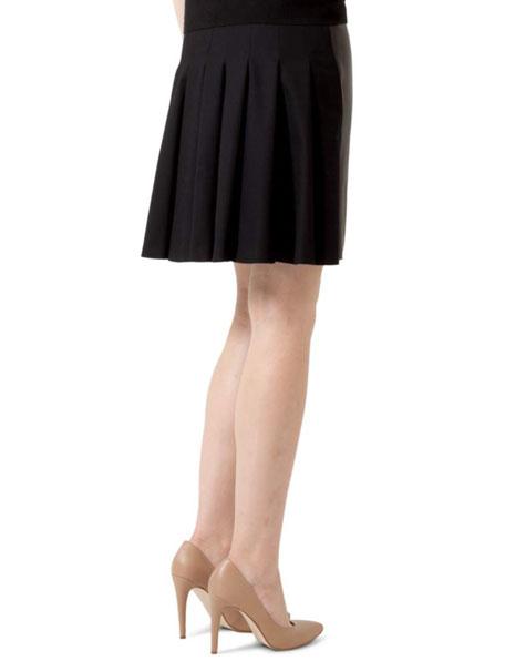 Pleat-Back Combo A-Line Skirt