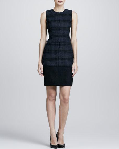 Plaid Wool Flannel Dress, Denim/Black