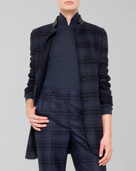 Reversible Long Wool Flannel Jacket, Denim/Black
