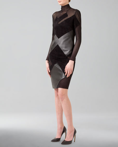 Graphic Leather-Tulle Patchwork Dress