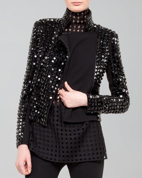 Hilton Studded Knit-Back Moto Jacket