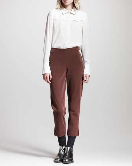 Cropped Brushed Cotton Pants, Fox