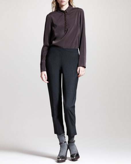 Cropped Brushed Cotton Pants, Volcano