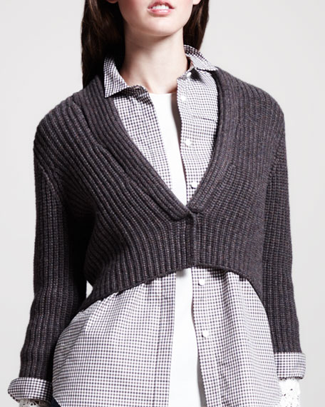 Cropped Ribbed-Cashmere Cardigan