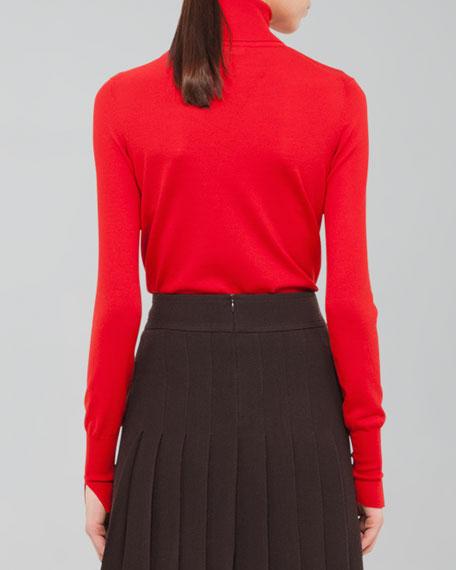 Slit-Trim Turtleneck Sweater