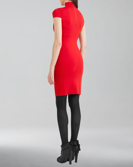 Cap-Sleeve Mock-Neck Sheath Dress