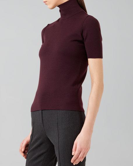 Stretch-Wool Mock-Neck Sweater, Wine
