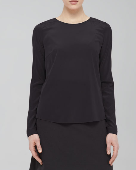 Long-Sleeve Shirttail Blouse