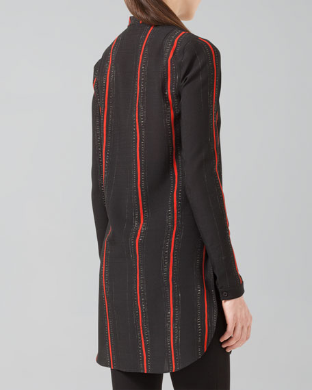 Cross-Stitch-Print Wool Tunic, Black/Coral